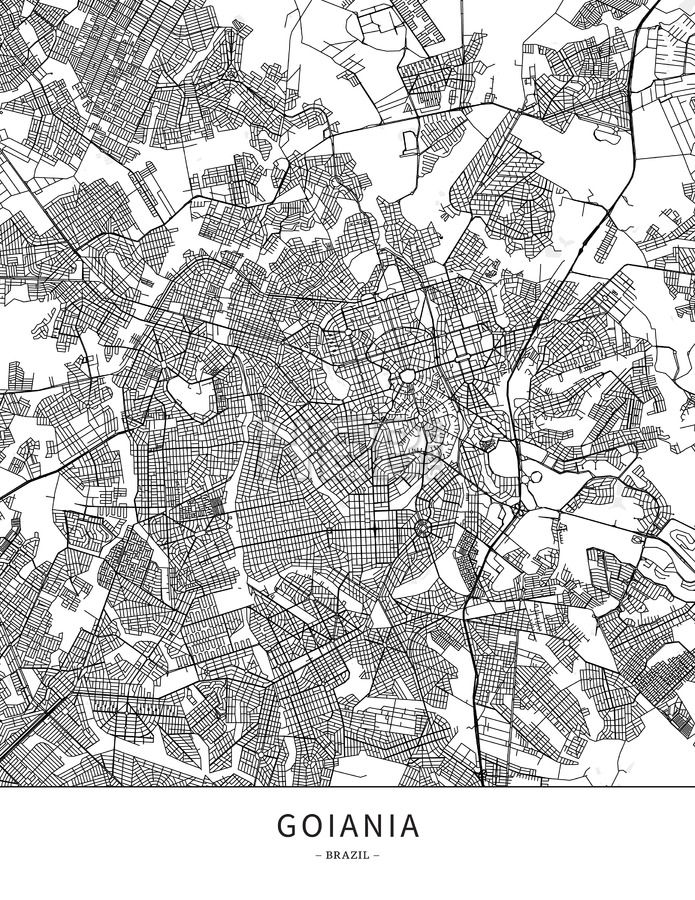 Goiania, Brazil, Map poster borderless print template. Black streets, railways and grey water on white. This map will show only basic shapes for landm... ... #download #poster #map #stockimage #graphic #cityposter #citymap #city