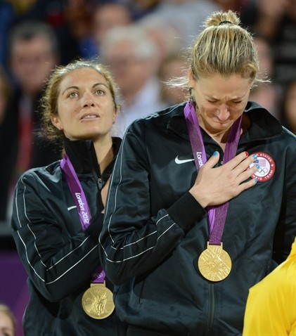 United States gold medalists Misty May-Treanor and Kerri Walsh