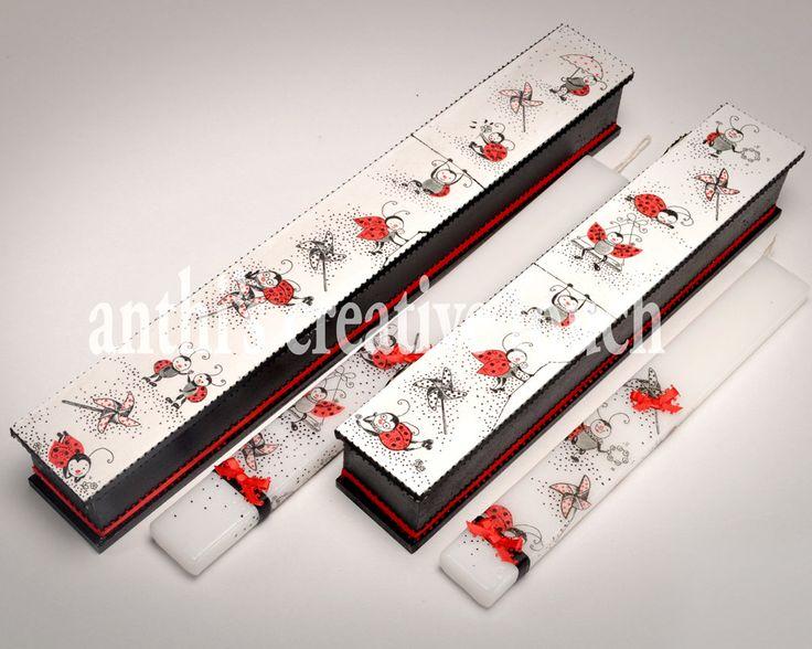 AnthiCreativeTouch, LadyBug, Easter Candle, Wooden Box, Greek Lambada, Greek Easter Candle, Gift for Her, Lambada, LadyBag Candle by AnthiCreativeTouch on Etsy
