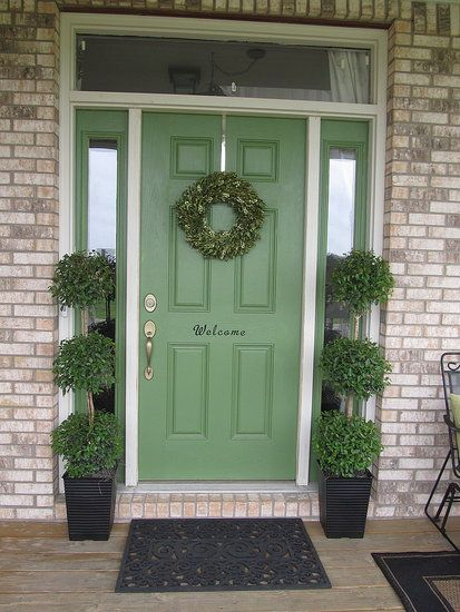 Pretty Green Front Door To Paint The Sidelights Or Not