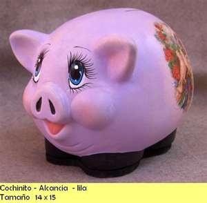 Ceramica Walla's: Cochinito - alcancia - lila