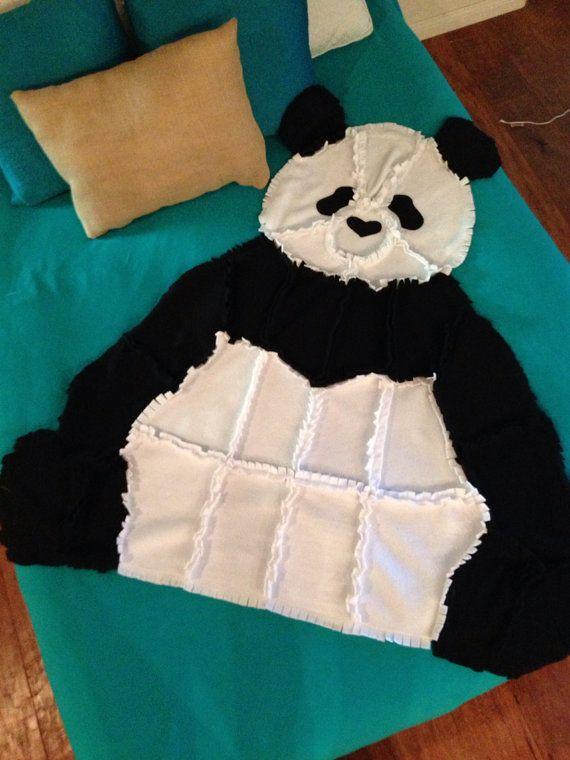 Fleece Panda Bear Rag Quilt/Blanket Throw by ...