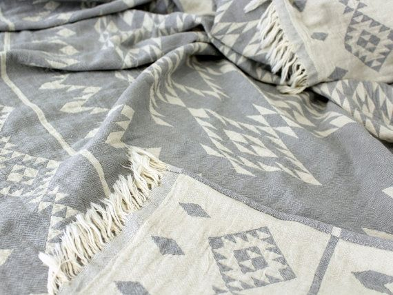 Grey White Beach Towel Two-Sided | Aztec Tribal Beach Blanket Towel | Navajo Southwestern Organic Bath Towel | Hostess Student Gift Idea