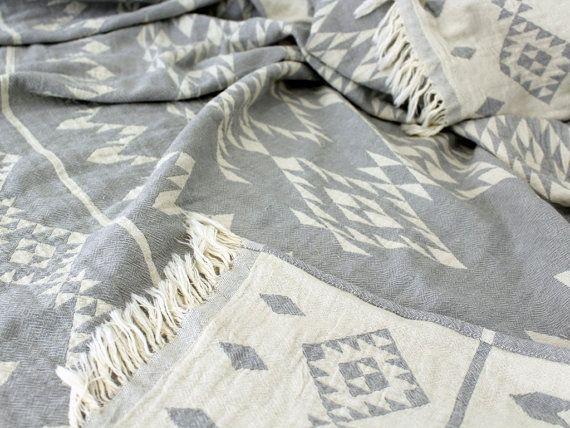 Navajo Throw Blanket | Southwestern Blanket | Grey White Geometric Throw | Aztec Picnic Blanket | Organic Sofa Throw | College Student Gift
