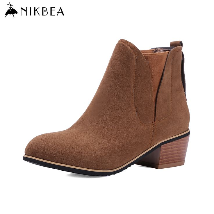 Find More Women's Boots Information about Nikbea Suede Ankle Boot Chunky Low Heel Chelsea Boots Large Size Botines Mujer 2016 Autumn Winter Shoes Woman Botas Feminina,High Quality boot screen windows 7,China shoes ballroom Suppliers, Cheap shoe rack boots from nikbea on Aliexpress.com