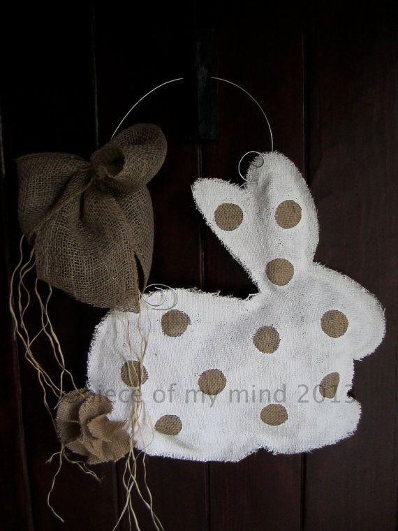Burlap Door Hanger Bunny  by nursejeanneg