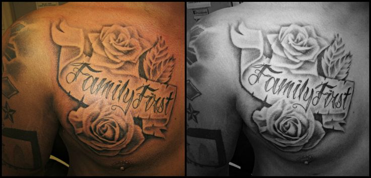 Rose With Family First Tattoo Family First 2 roses and a banner ...