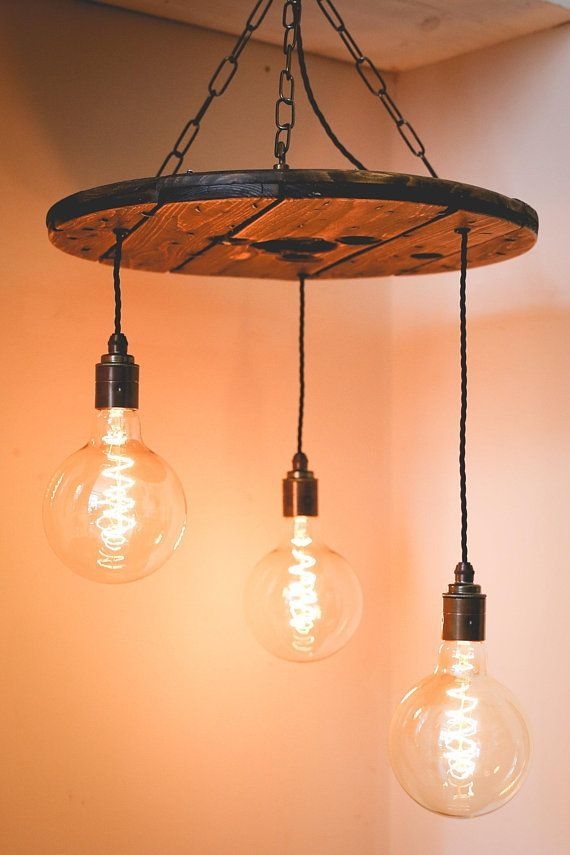 Cable Reel Spiral Ceiling Light Pendant Chandelier With Reclaimed