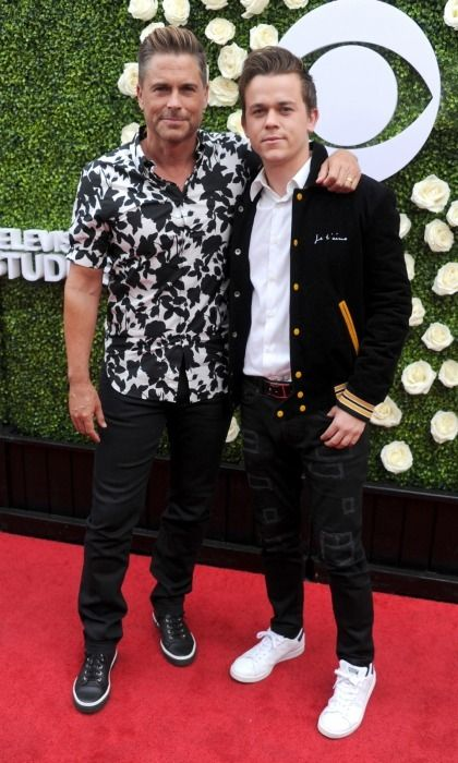 Like father, like son! Rob Lowe, 53, posed with his 22-year-old son John Owen on the carpet for CBS Television Studios' Summer Soiree in L.A.   The family pair, who co-star on The Lowe Files together, made for a handsome match, both sporting dark jeans, sneakers and some killer smolders.