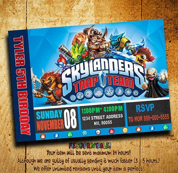 Invito di compleanno inviti - trappola di Skylanders Team invito - trappola Team - Skylanders invito-