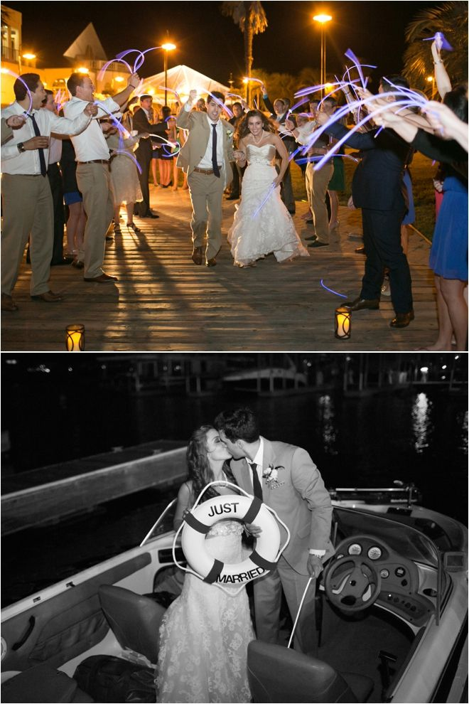 Bride and groom exiting wedding reception to a yacht ~ Photo: Sarah Ainsworth