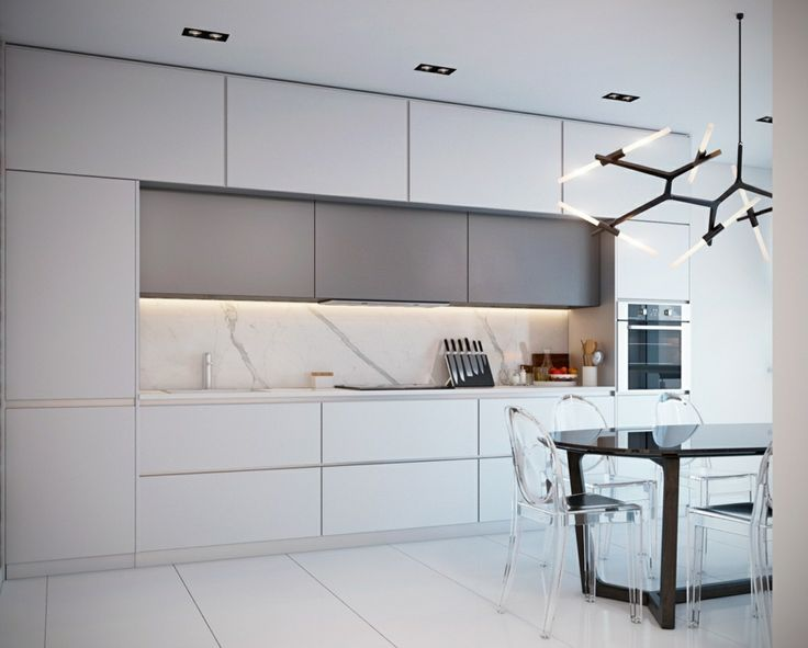 Marmor Küchenrückwand Weisse Kücheneinrichtung Esstisch Aus Holz Und  Durchsichtige Plastikstühle