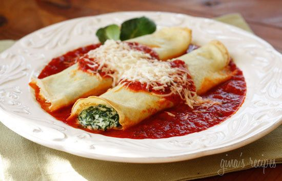 Crespelle Manicotti stuffed with Ricotta. by Lidia - good with artichoke, mortadella, celery salad and balsamic strawberries for dessert