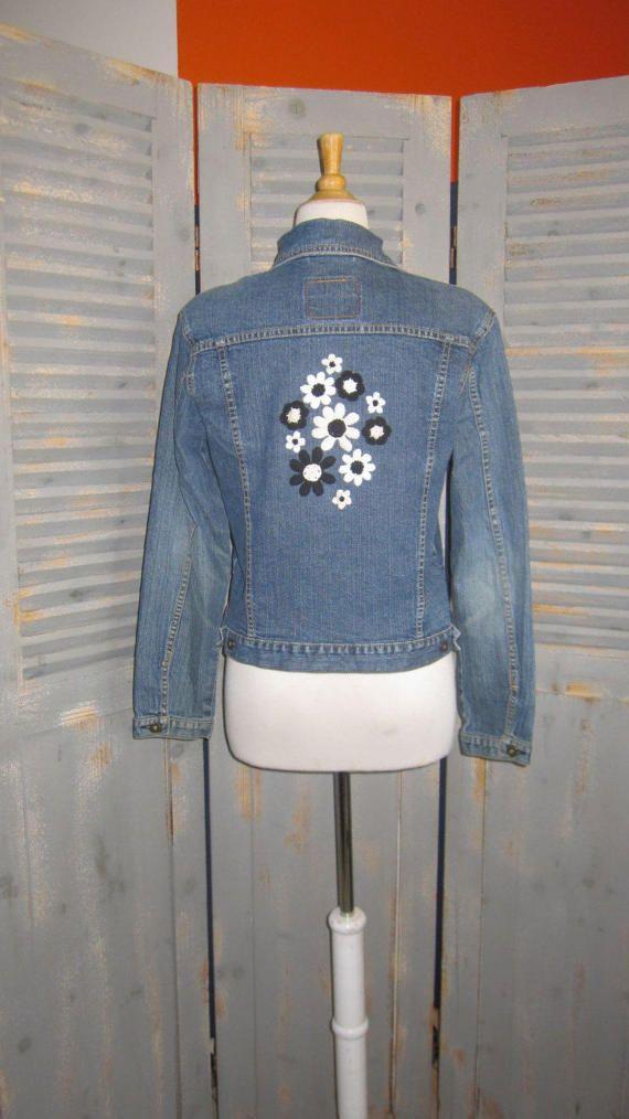 Levi Strauss Denim Jacket Patchwork Retro Vintage by designsbyagi