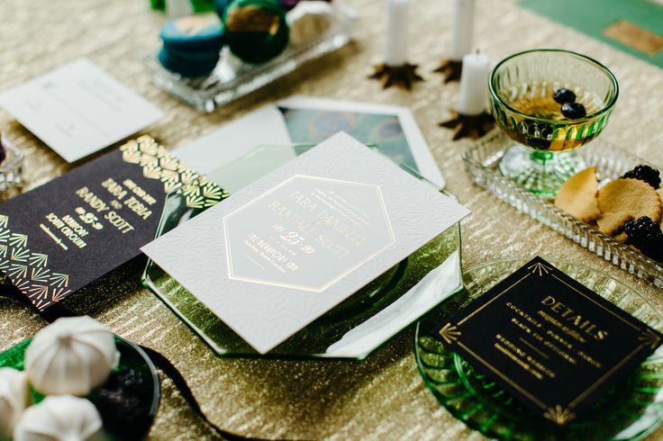 The Tara Suite - Inclosed Letterpress Co. | Custom Stationery | Art Deco Wedding Inspiration