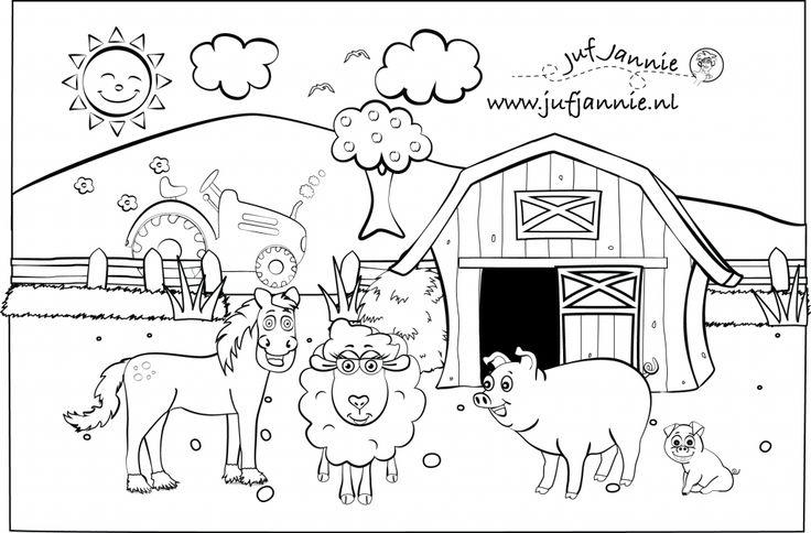 kleurplaten kinderboerderij: paard, schaap, varken, big, schuur en tractor