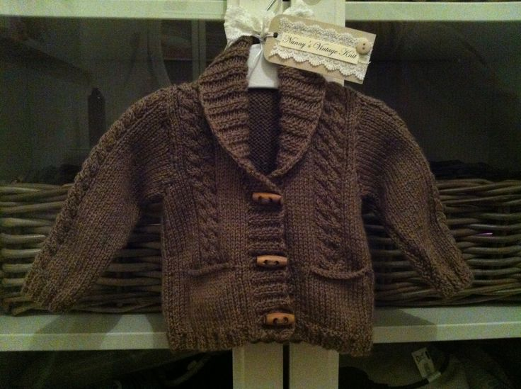 Gorgeous baby boys cardigan coco brown wool, toggle detail Gorgeous handmade ballerina style cardigan 0-6 months 6-12 months 1-2 years £14 on Nanny's Vintage Knit at Etsy