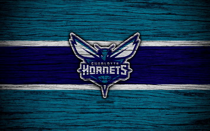 Download wallpapers 4k, Charlotte Hornets, NBA, wooden texture, basketball, Eastern Conference, USA, emblem, basketball club, Charlotte Hornets logo