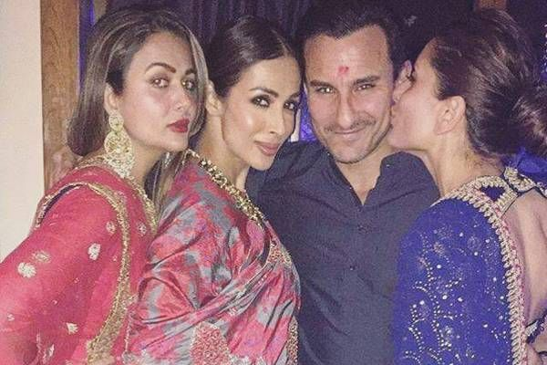 Kareena kisses Saif Ali Khan at a Diwali bash