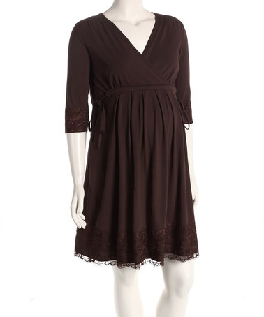 Take a look at this Brown Maternity Surplice Dress by Expecting Style: Women's Maternity on #zulily today!