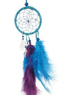 """This magical dream catcher is detailed with pig split hide, glass beads, silver craft beads and faucet beads, a metal feather, a quartz crystal and turkey and hackle feathers. Webbed with sinew.<br /> <br /> <span style=""""font-weight: bold;"""">Turquoise dream catcher pictured.</span>"""