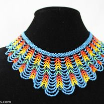 This blue and multicolor beaded necklace can be worn with any outfit for a classic look.