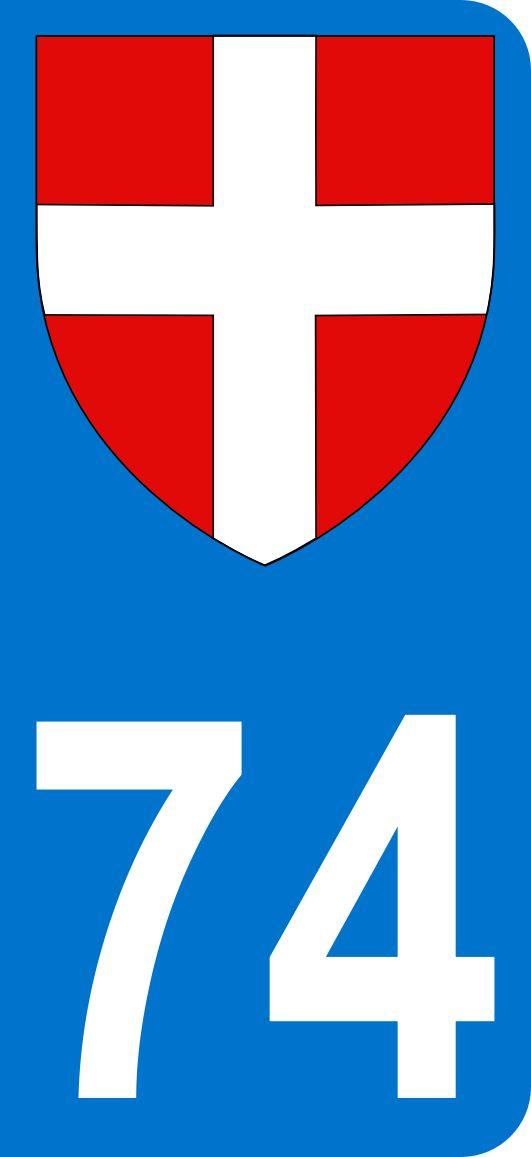 Autocollant 74 Haute-Savoie pour plaque d'immatriculation