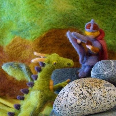 Autumn ~ Michaelmas ~ Needle Felted Wool ~ Knight & Dragon