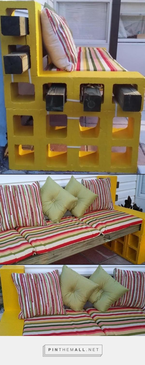 My version of the cute cinder block benches I have seen. I hope everyone likes the improvements I have made - created via http://pinthemall.net P.S. The white strips you see are the moving straps I placed before moving the pieces to the back yard.: