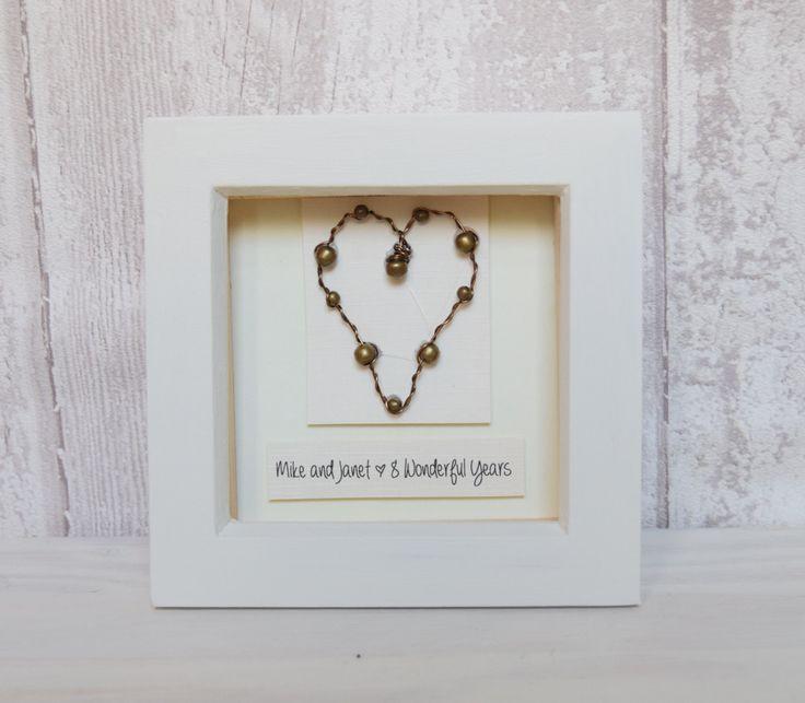 Personaised Bronze 8th Wedding Anniversary Keepsake Gift Art