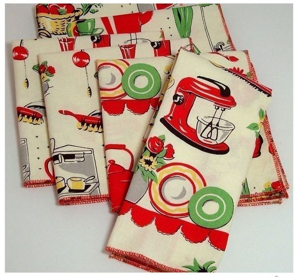 vintage kitchen linens More