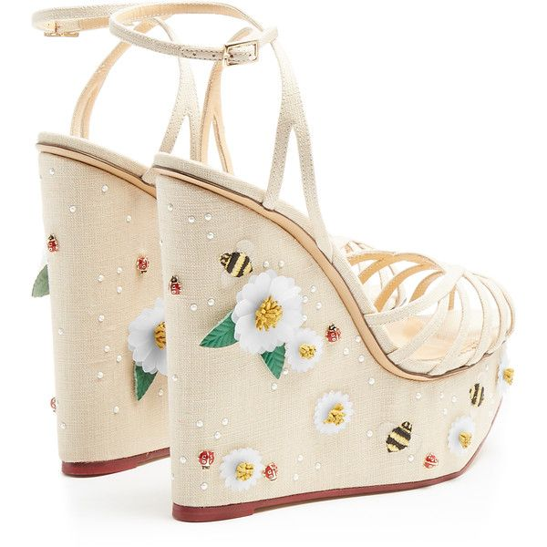 Charlotte Olympia Floral Meredith linen wedge sandals ($1,346) ❤ liked on Polyvore featuring shoes, sandals, wedges, platform wedge sandals, white wedge shoes, wedge sandals, nude shoes and white shoes