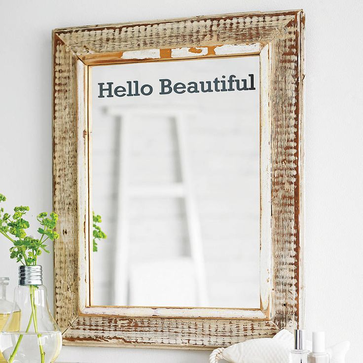 'hello beautiful' mirror sticker by oakdene designs | notonthehighstreet.com