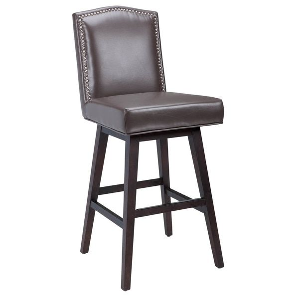 Sunpan 395west39 Maison Bonded Leather Swivel Bar Stool 16388223 intended for The Most Stylish  leather swivel bar stools with regard to Encourage