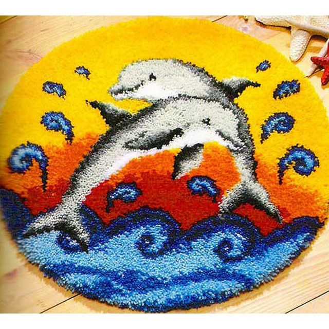 "Placemats ""do it yourself"" método de costura kit kit tapete do gancho da trava/bordado tapete/Golfinho feliz ponto tapete"