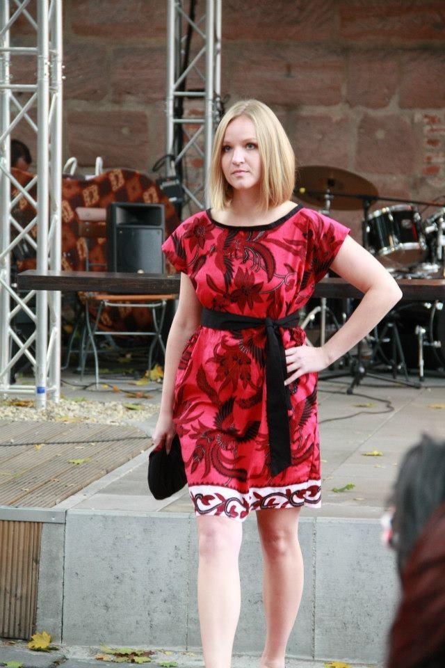 lady in red Batik dress