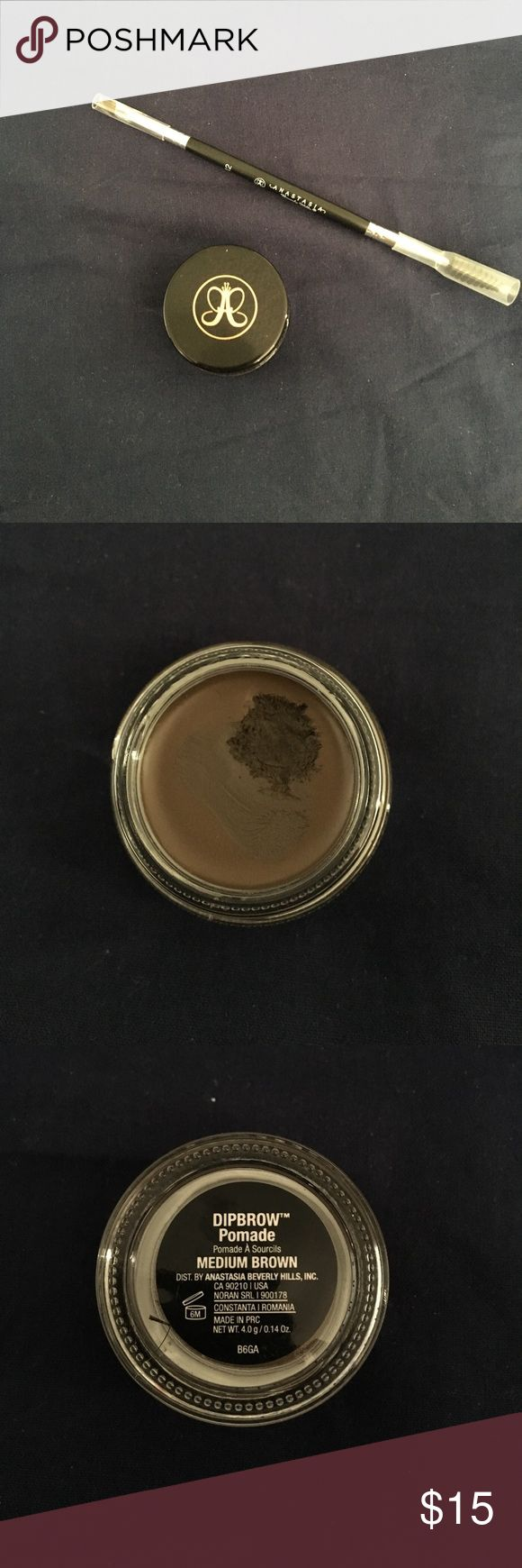 """ABH dipbrow pomade """"medium brown"""" almost brand new. only used a couple times, shown in picture. plenty of product left. 100% AUTHENTIC. bought at sephora because I had lost mine, and found my old one a week later. listing is for pomade only. Anastasia Beverly Hills Makeup Eyebrow Filler"""