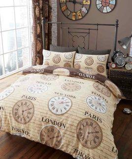 titanium clock natural bedding set