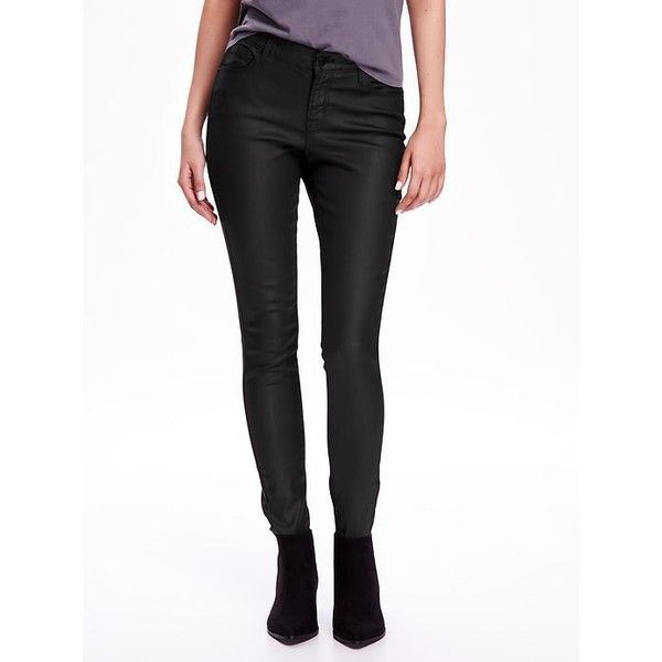 Old Navy Mid Rise Rockstar Coated Skinny Jeans For Women ($23) ❤ liked on Polyvore featuring jeans, black, petite, black skinny jeans, denim skinny jeans, petite skinny jeans, super stretch skinny jeans and petite jeans