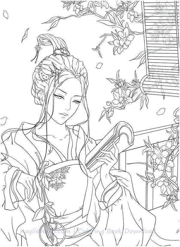 Download Classic Chinese Portrait Coloring Book Pdf Printable Hd Coloring Books Fashion Coloring Book Grayscale Coloring