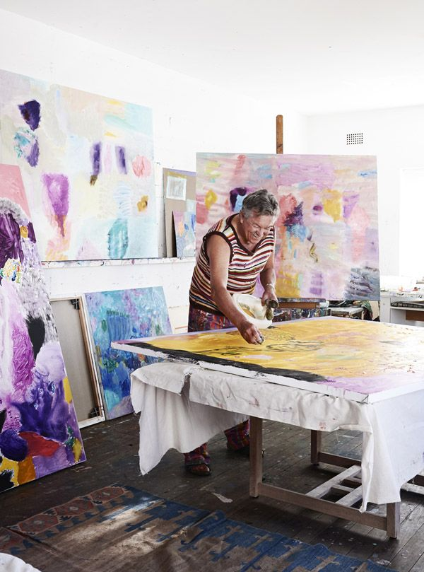 Painting Inspiration - Ken Done at work in his Sydney studio. Photo - Eve Wilson. Production - Lucy Feagins on thedesignfiles.net