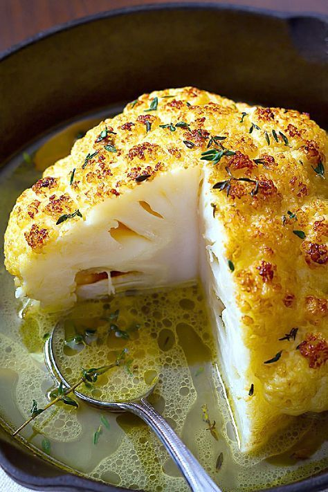 Whole Roasted Cauliflower With Butter Sauce by eatwell101: Crisp on the outside, melting in the inside — Your new favorite way to eat cauliflower. #Cauliflower