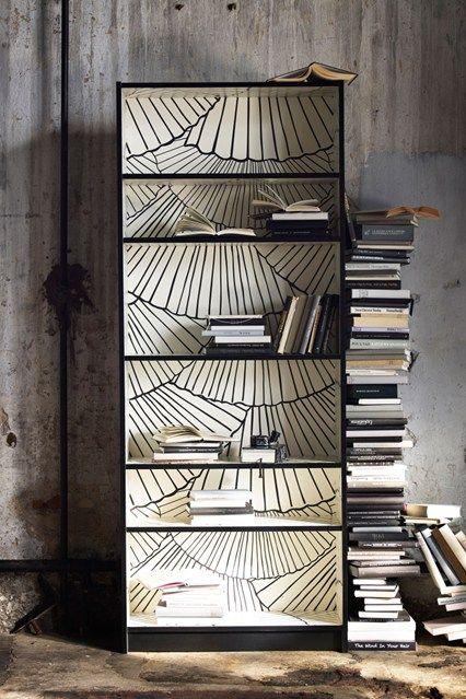 25+ parasta ideaa Pinterestissä: Wallpaper bookshelf   Kirjahyllyt ...