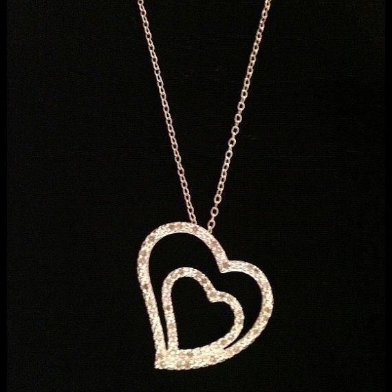 "Diamond Heart Necklace Sterling Silver Genuine Diamonds Pendant Enhancer Charm Slide Macy's 925 18"" Bridal Wedding Gift Xmas Vintage Mod on Etsy, $20.00"