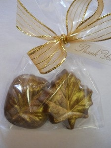 24 Autumn Fall Leaves Chocolate Wedding Favor with Luster Dusting. $48.90, via Etsy.