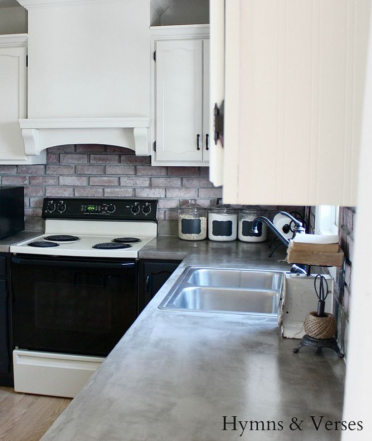 Formica Laminate Kitchen Cabinets: DIY Concrete Countertops Over Existing Formica