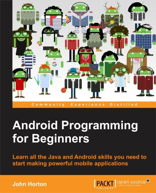"Artwork from the cover of Android Programming for beginners showing an ""Androidified"" image of each person who worked on the book."