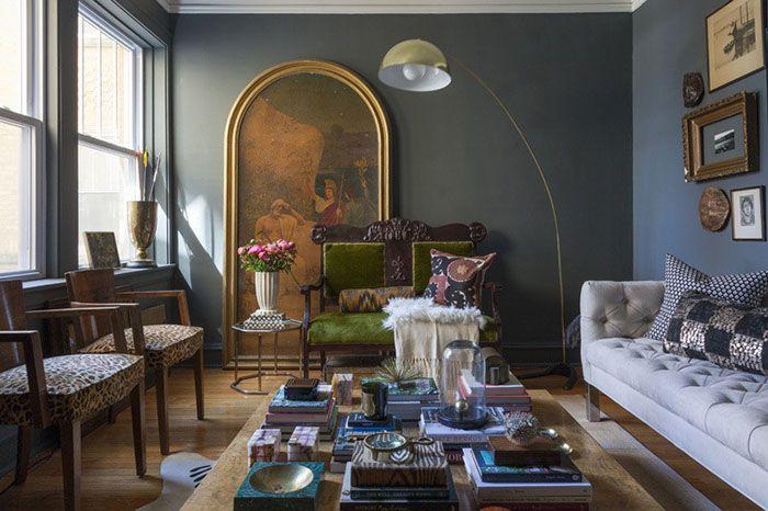 Стильный дом - Глубокий цвет интерьера квартиры в Чикаго