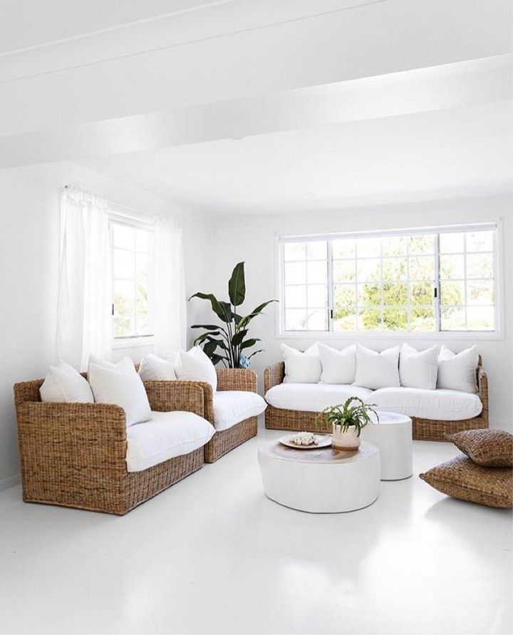 The Considered Combination Of A Natural Colour Palette Organic Materials And Some Vibrant Indoor Greenery Ensure T Comfy Living Room Furniture Home Home Decor #white #side #tables #living #room