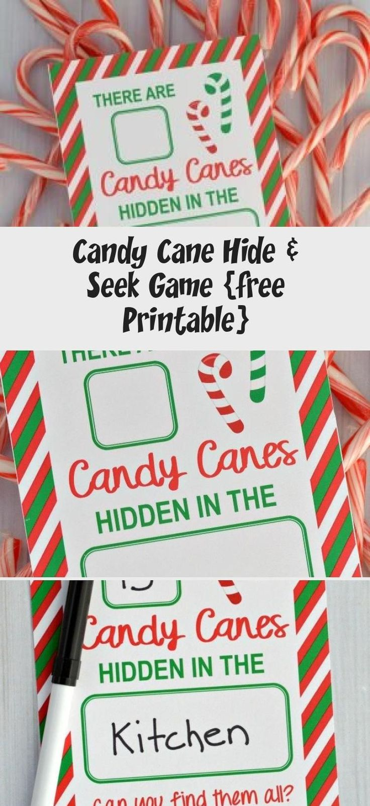 Candy Cane Hide & Seek Game free Printable HOLIDAY IDEAS